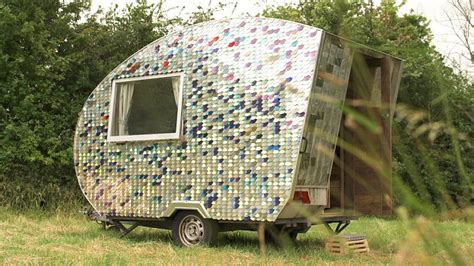 Upcycled Kitchen Ideas caravan transformed with vinyl record floor and phone case