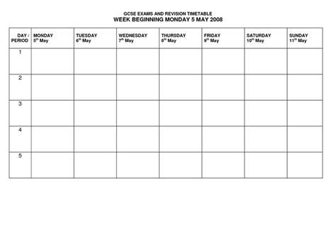 blank revision timetable template revision timetable template uef0khct school help