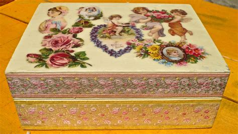 Decoupage Memory Box - keepsake box decoupage vintage box by casakarmadecor