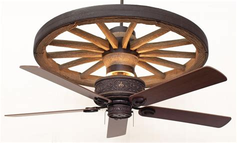 Wagon Wheel Ceiling Light by Copper Cheyenne Wagon Wheel Ceiling Fan