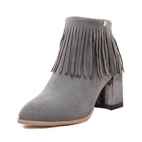 grey suede boho fringed chunky heel ankle boots