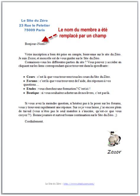 Exemple De Lettre Commerciale Pour Vendre Un Produit tp cr 233 ation d un e publipostage r 233 digez facilement des