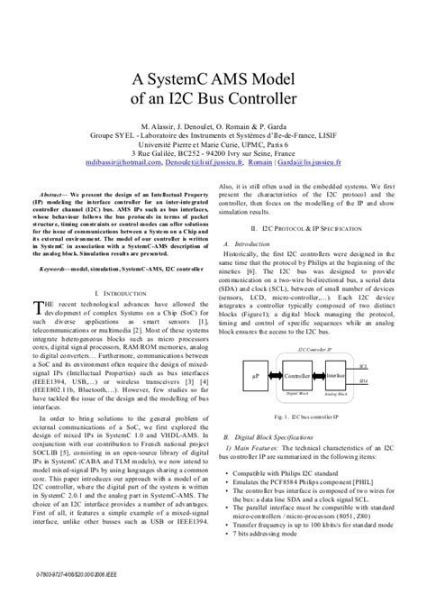 how to write an ieee paper ieee paper a systemc ams model of an i2c controller