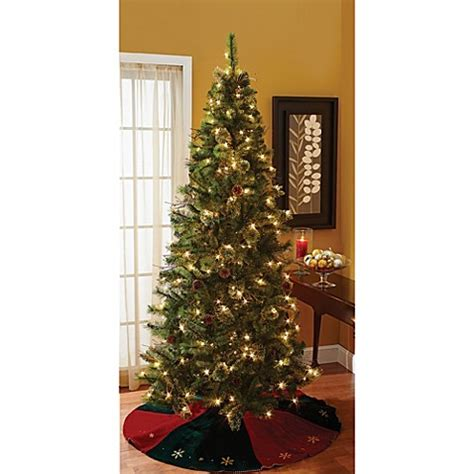 7 foot ozark pine christmas tree 7 foot pre lit mixed pine tree with stand bed bath beyond