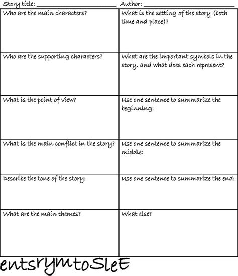 literature story elements worksheet scribd