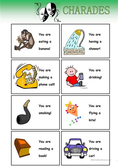 printable charades cards charades cards worksheet free esl printable