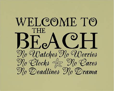 Welcome to the beach beach wall quotes words sayings removable