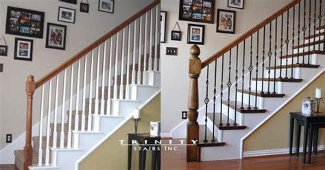 Iron Banisters Stair Remodel Before After 2 Woodworking Pinterest
