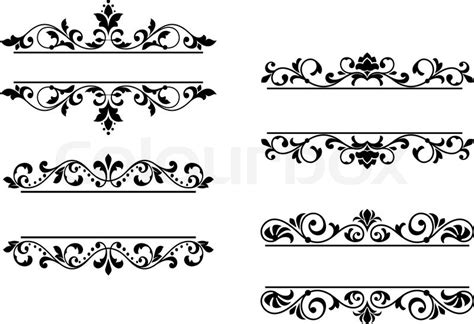 black pattern header floral headers and borders stock vector colourbox