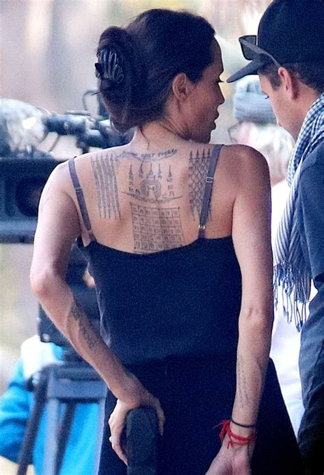 angelina jolie yantra tattoo meaning angelina jolie spotted with three new back tattoos see