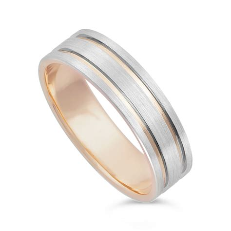 wedding rings men s 9ct rose gold and palladium 950 wedding ring