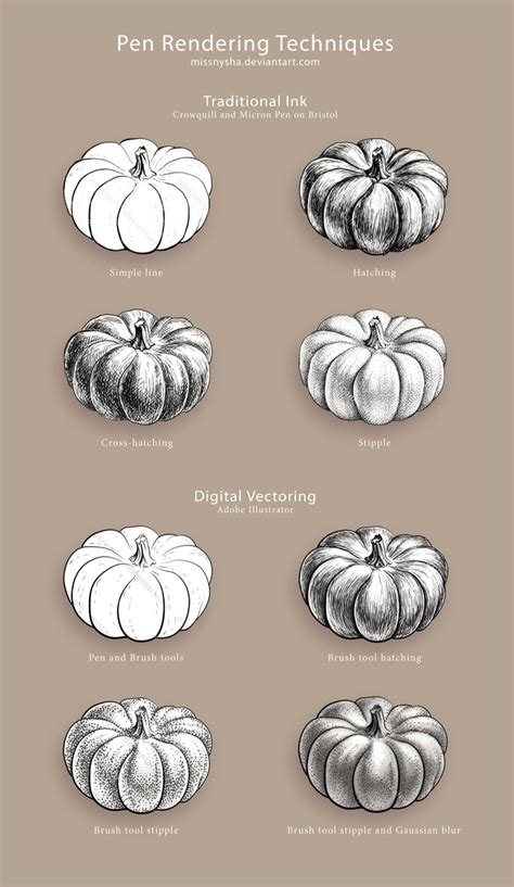 9 Drawing Techniques by Pen Rendering Techniques By Missnysha On Deviantart