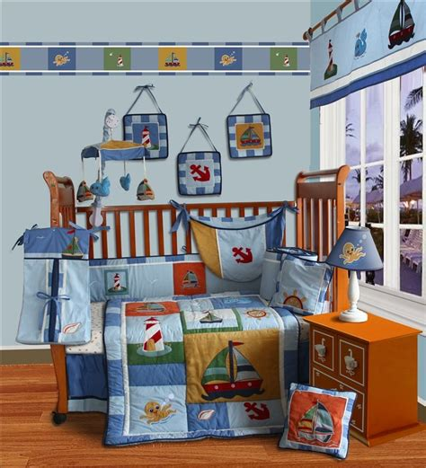 Sail Away Crib Bedding Baby Boutique Sail Away 13 Pcs Crib Nursery Bedding Nursery Set Ebay