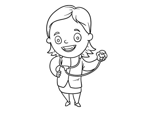 woman doctor coloring page female doctor with stethoscope coloring page