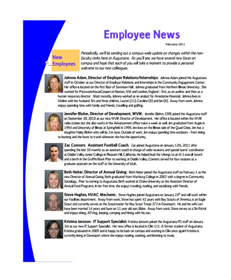 10 Employee Newsletter Templates Sle Templates Staff Newsletter Templates Free
