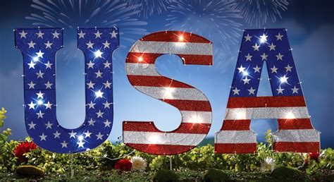 lighted usa garden stake patriotic outdoor decor electric