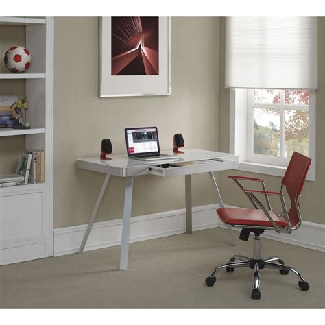 Bell O White Glass Desk Od10205 48 Wht The Home Depot Glass White Desk
