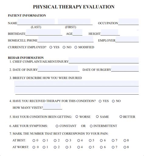 physical therapy evaluation template physical therapy evaluation 6 free for pdf