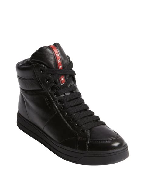 black high top sneakers mens lyst prada black leather lace up high top sneakers in