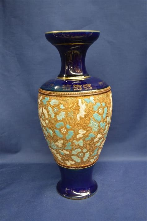 antique royal doulton slaters patent stoneware vase in