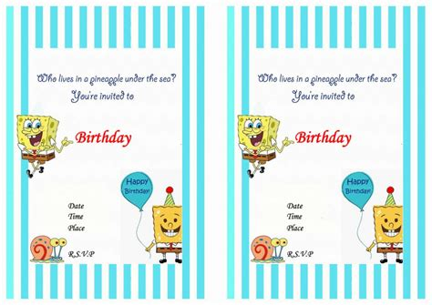 free printable birthday invitations spongebob squarepants spongebob birthday invitations birthday printable