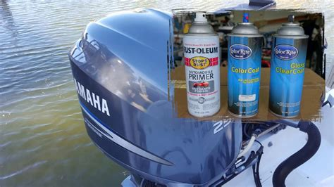 paint boat motor cover yamaha outboard engine cover spray can painting youtube