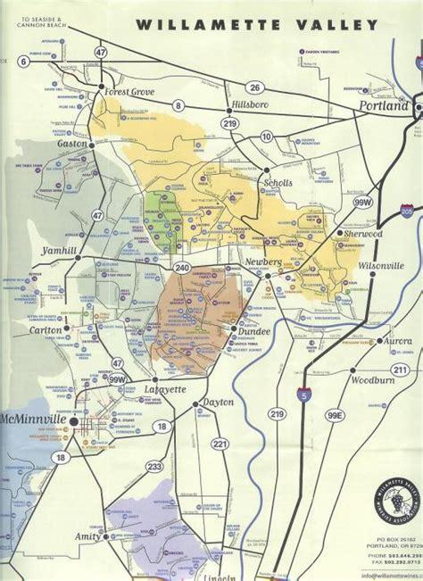 map of oregon vineyards andrea s wine wine region the willamette valley