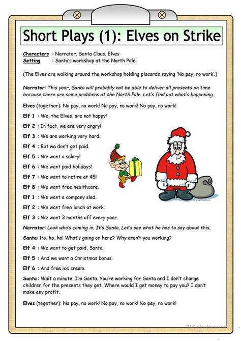 themes for english play short plays 1 elves on strike worksheet free esl