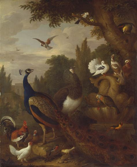 file meerabai painting jpg wikimedia commons file jacob bogdani peacock peahen parrots canary and