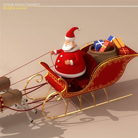 toon santa in sleigh with reindeer 3d model buy toon