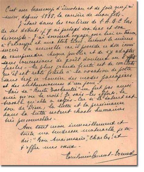Modèles De Lettre Anniversaire Louise Trenet La Maman De Charles Charles Trenet