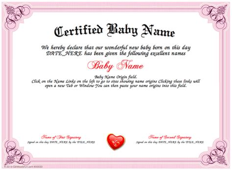 name a certificate template certified baby name