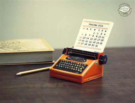 diy printable paper desk calendar papercraft realistic orange miniature typewriter