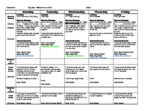 teaching strategies gold lesson plan template creative curriculum on creative curriculum