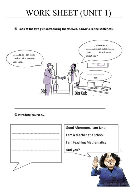 Esl Introducing Yourself Worksheet by Introducing Yourself Worksheet Free Esl Printable