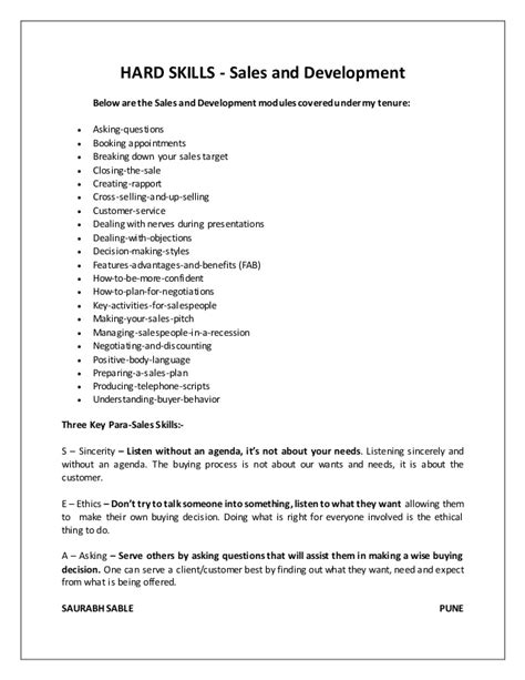 communication skills cv sles resume