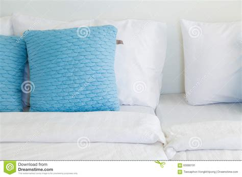 white bed pillows light blue pillows white bed stock photo image 63066191
