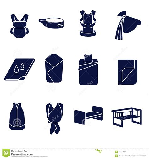 sleeping accessories flat icons set for carrying a baby and sleeping stock