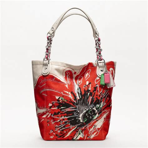 Totebag Flowly Flower kiosk special requst coach poppy placed flower large tote 19027