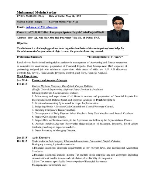 resume format used in dubai accountant c v dubai