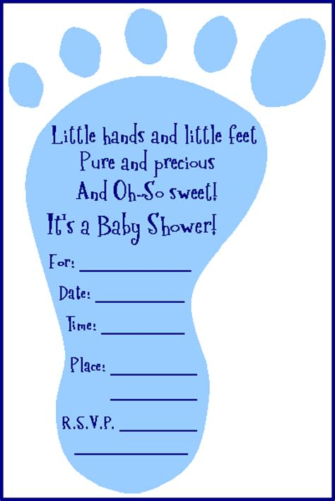 free adorable baby shower footprint invitation