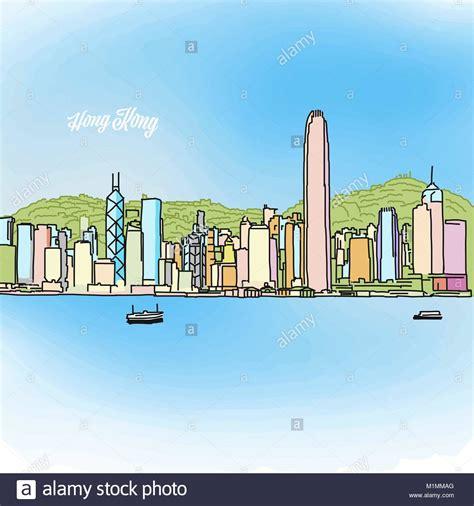 banner design hong kong outline shanghai skyline stockfotos outline shanghai