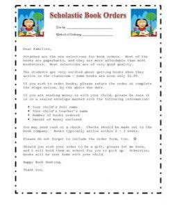 book report letter to parents scholastic book order cover page for parents teach ela