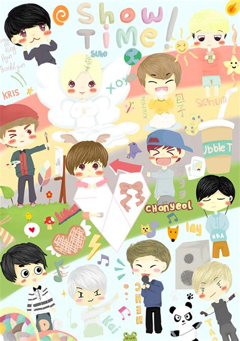 exo cartoon iphone wallpaper exo fan art wallpaper www pixshark com images