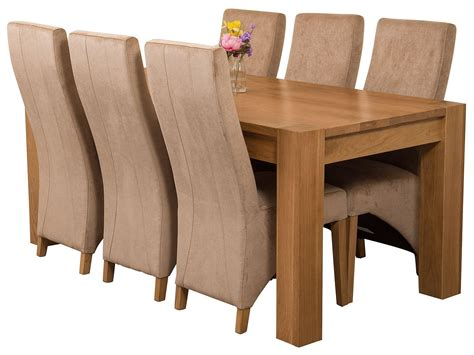 solid oak table with 6 chairs kuba oak dining set 180cm 6 beige chairs