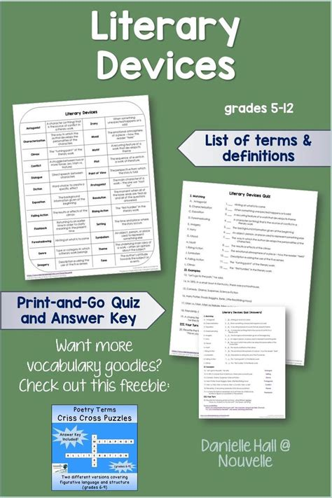 printable quiz on literary terms 17 best images about school reading on pinterest