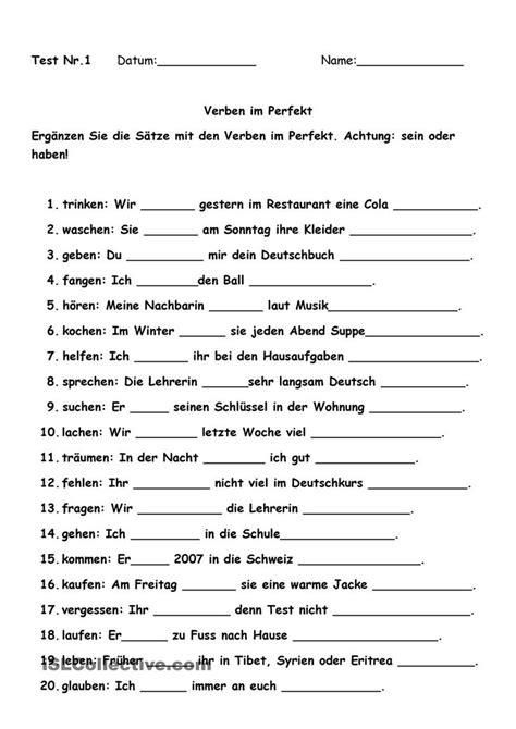 Test Nr.1 Verben im Perfekt   √german   Learn german