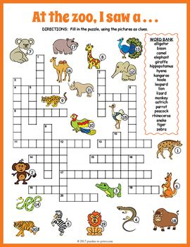 printable crossword puzzle animals zoo animals crossword puzzle by puzzles to print tpt