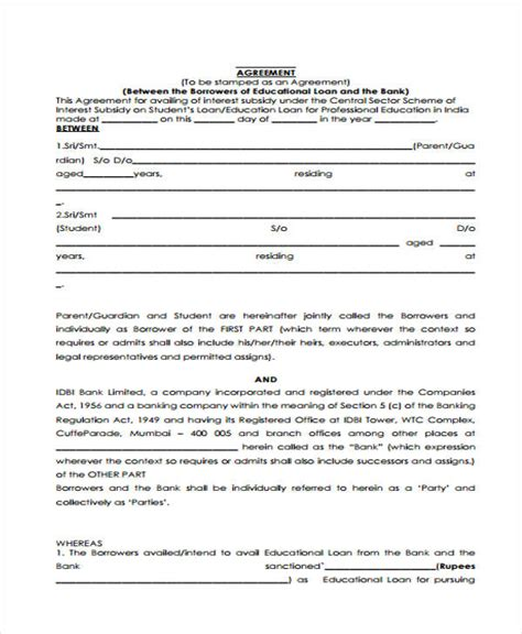 Agreement Letter For Bank Loan Agreement Form Template