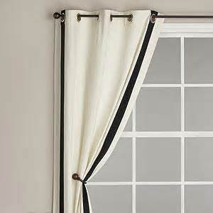White Curtains Black Trim Ribbon Trim Panel With Grommet Top Ivory With Black Trim Curtains Cost Plus World Market